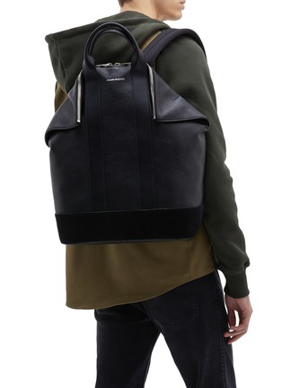 Figure View - Click To Enlarge - ALEXANDER MCQUEEN - 'De Manta' suede panel leather backpack tote