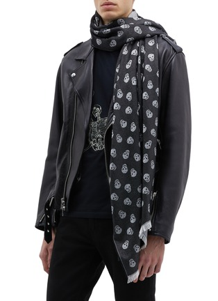 Figure View - Click To Enlarge - Alexander McQueen - All Over Skull wool-silk scarf