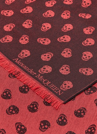Detail View - Click To Enlarge - Alexander McQueen - All Over Skull wool-silk scarf