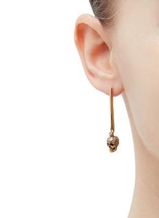 Alexander McQueen 'Stick Skull' Swarovski crystal drop earrings