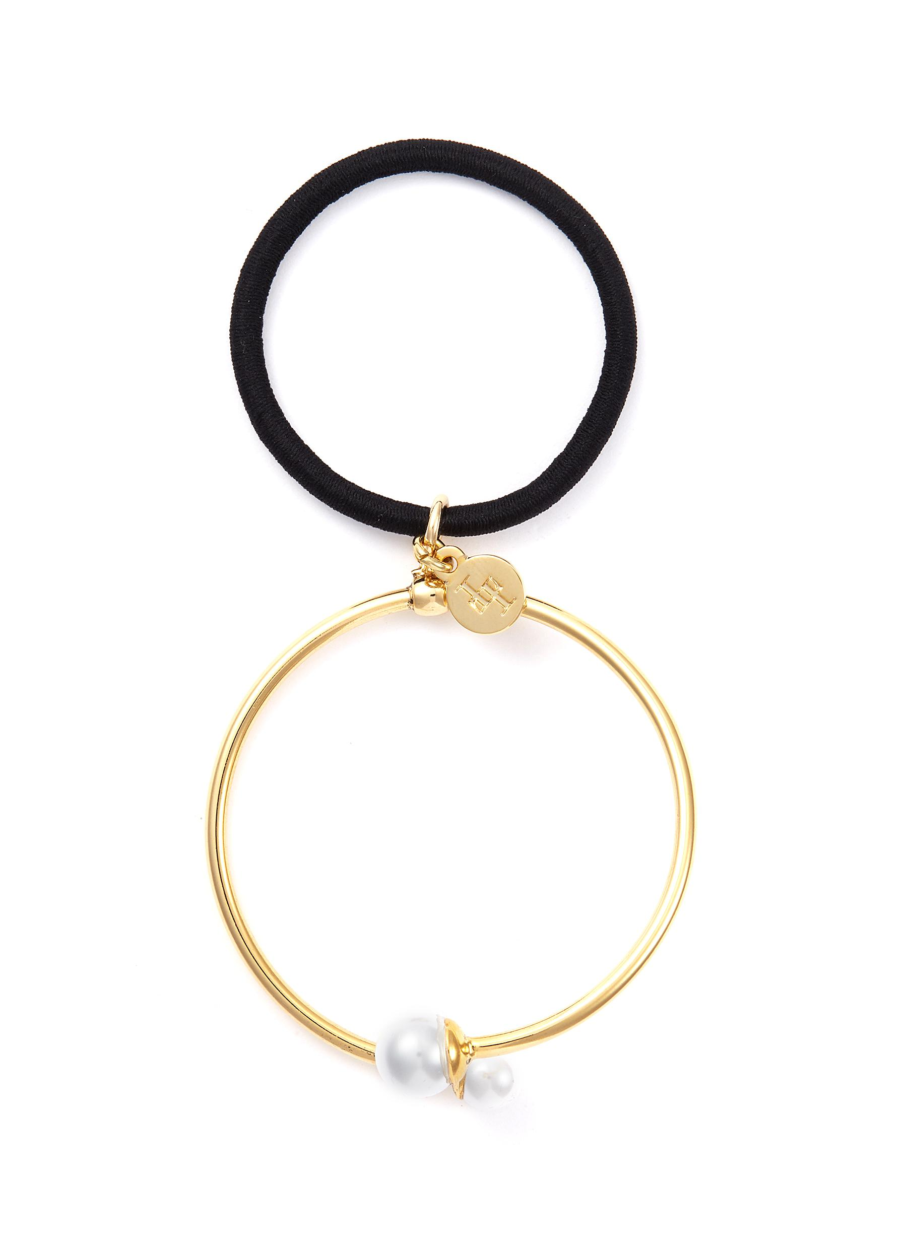 LELET NY. Swarovski pearl hoop hair tie ad0a555d735