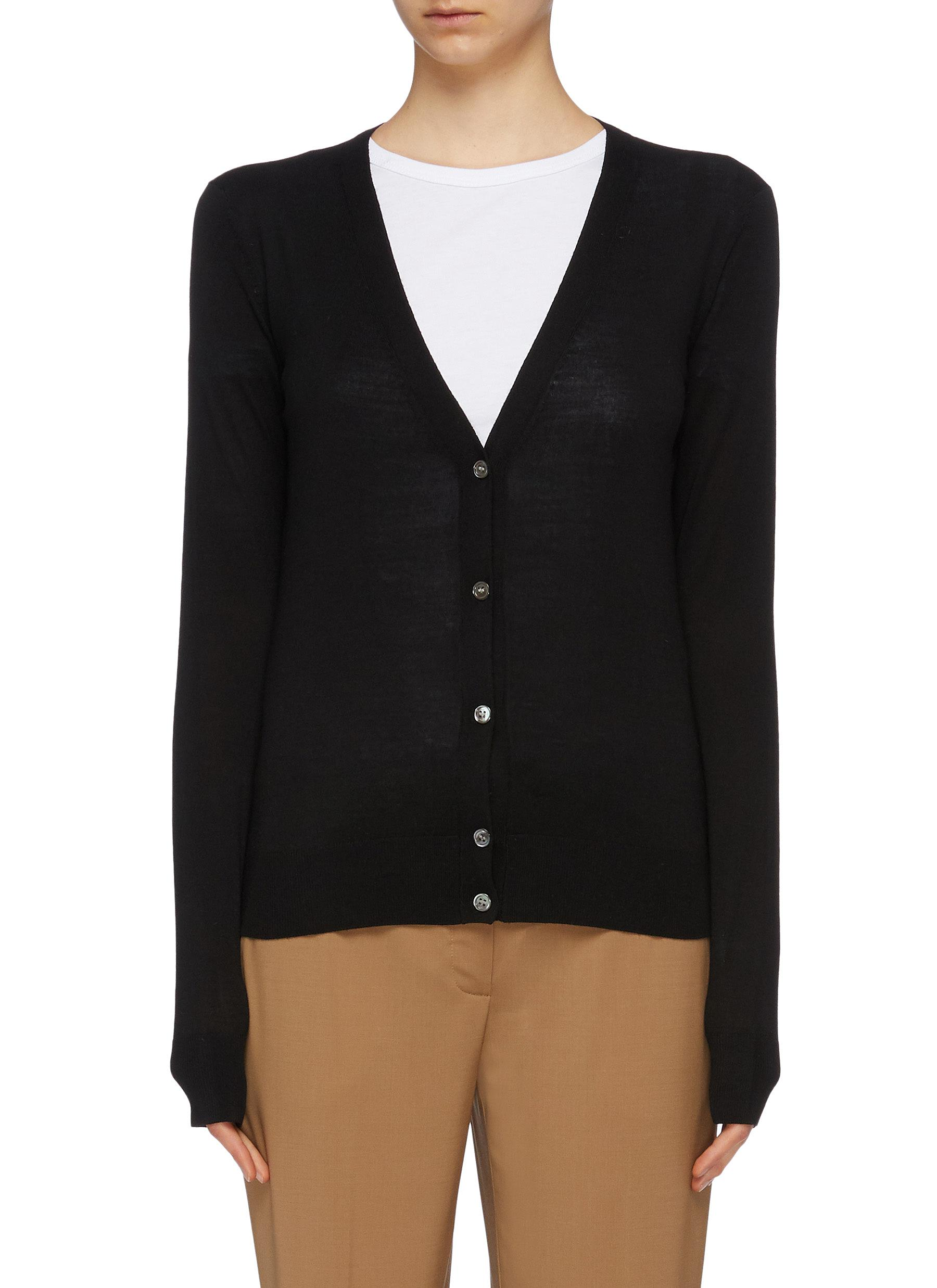 Wool blend V-neck cardigan by Theory