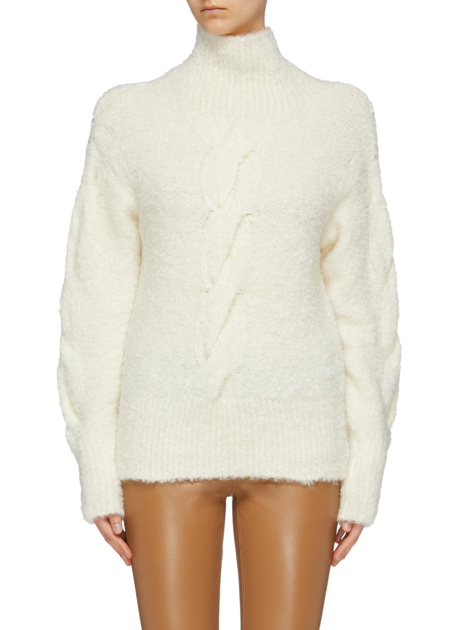 shop Theory Bouclé knit oversized turtleneck sweater online