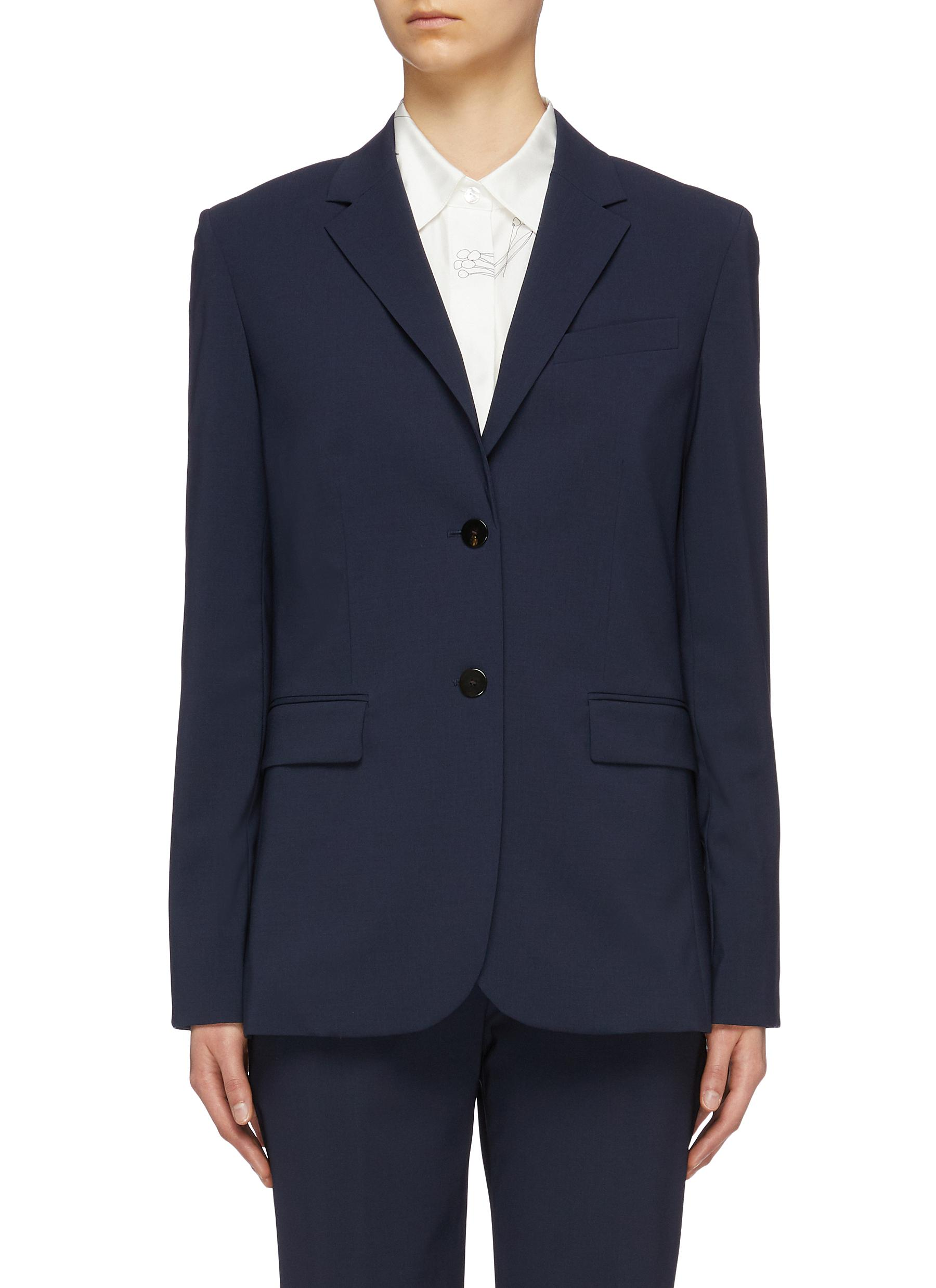 Classic notched lapel virgin wool blazer by Theory