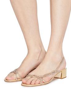 René Caovilla Strass strap satin slingback sandals