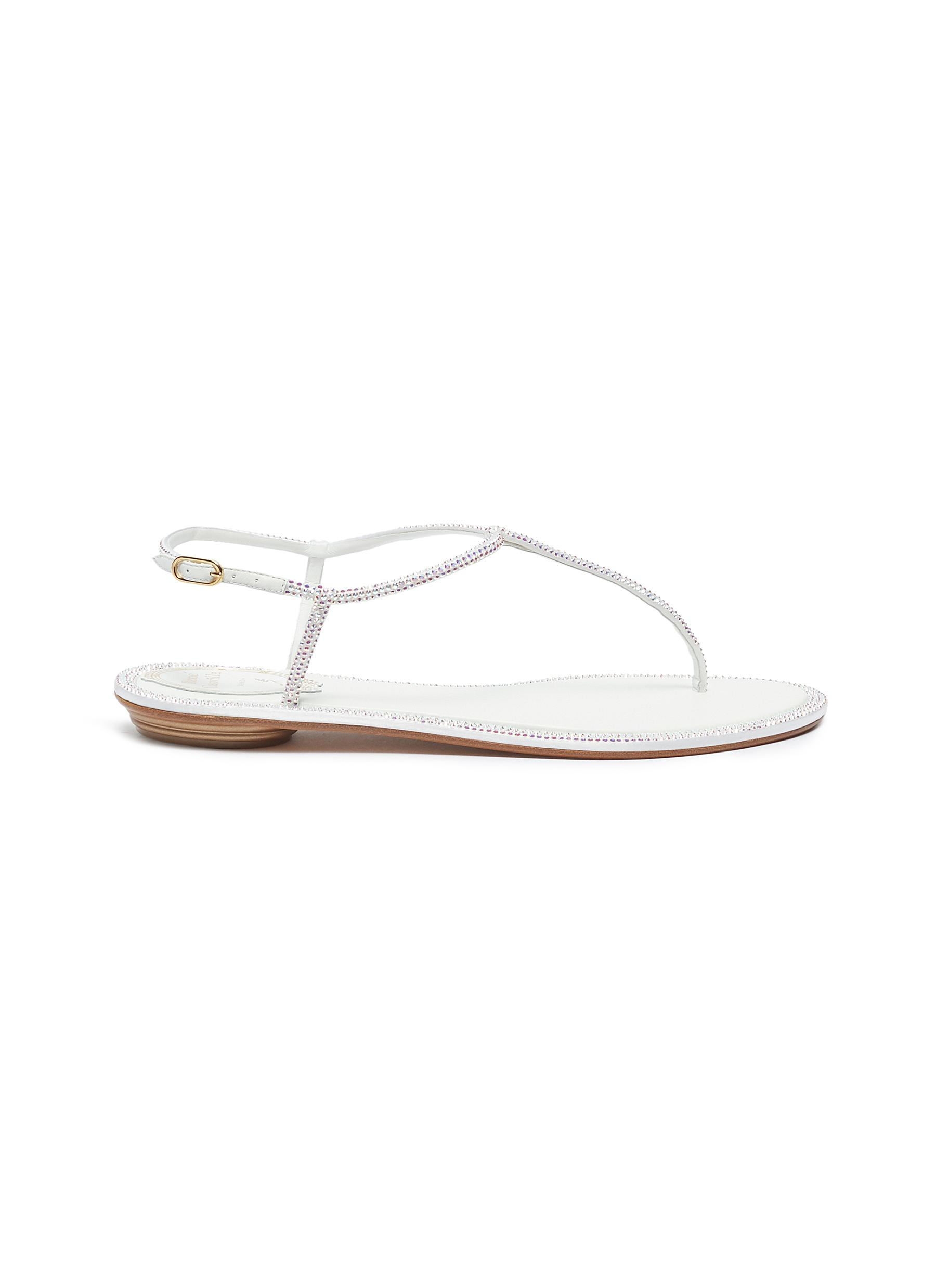 Diana strass strap satin thong sandals by René Caovilla