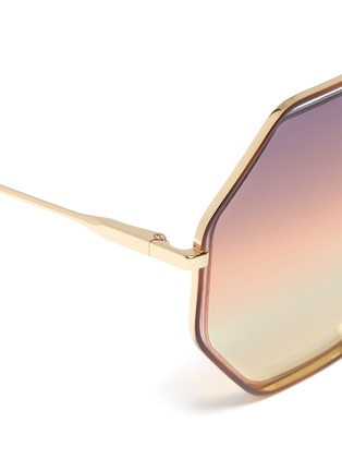 Detail View - Click To Enlarge - Chloé - 'Poppy' metal octagon frame sunglasses