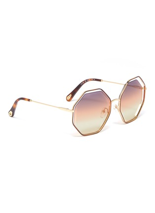 Figure View - Click To Enlarge - Chloé - 'Poppy' metal octagon frame sunglasses