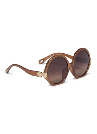 ac115f602 Figure View - Click To Enlarge - CHLOÉ - 'Vera' acetate scalloped round  sunglasses