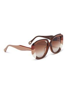Chloé 'Venus' colourblock acetate oversized round sunglasses