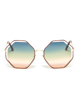 Main View - Click To Enlarge - CHLOÉ - 'Poppy' metal octagon frame sunglasses