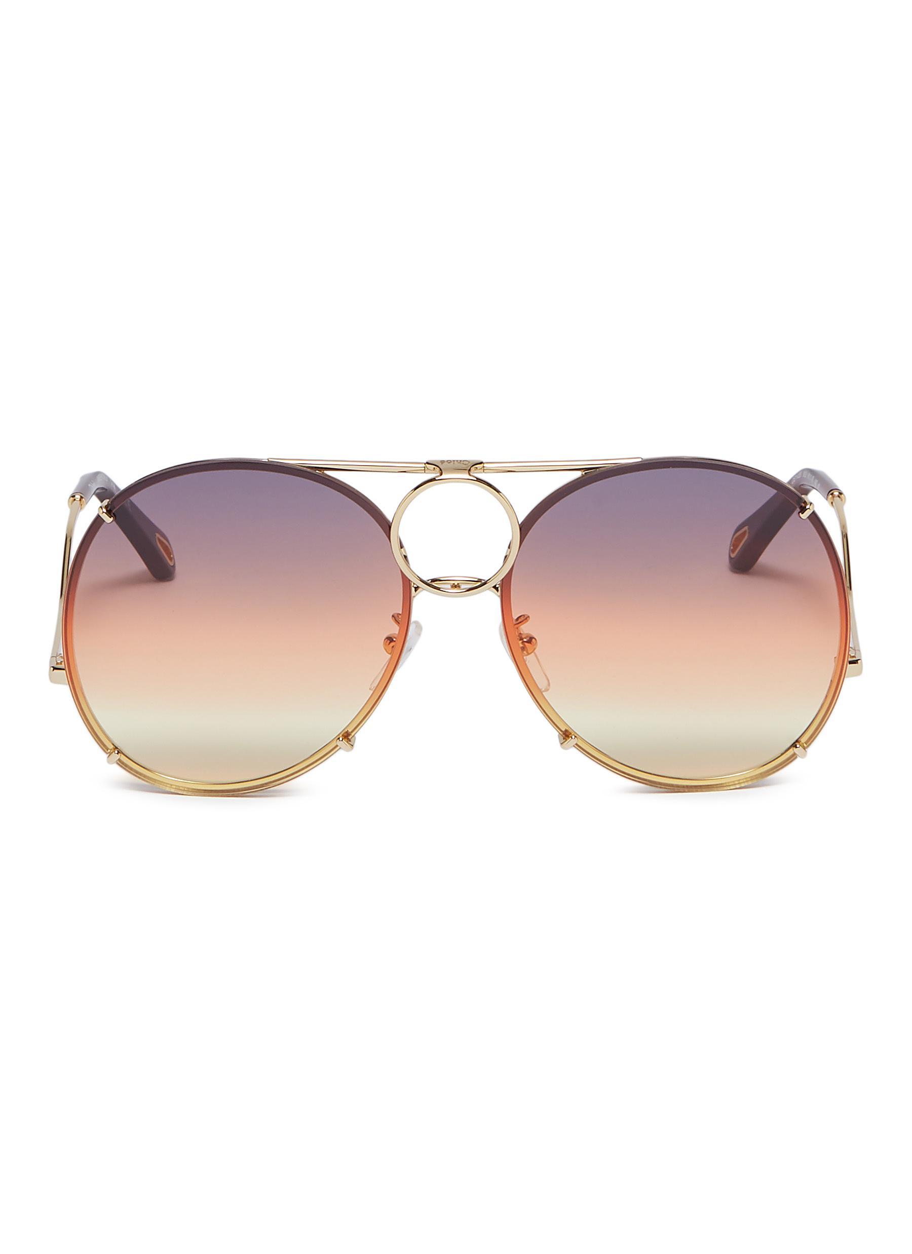 5bc1d672ec1 Chloé.  Vicky  interchangeable lenses metal aviator sunglasses