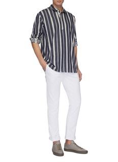 Rue de Tokyo 'Salix' stripe long sleeve twill polo shirt
