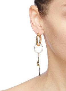 MOUNSER 'Torqued + Dark Moon' mismatched link drop earrings