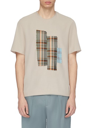 Main View - Click To Enlarge - FFIXXED STUDIOS - Tartan plaid appliqué T-shirt