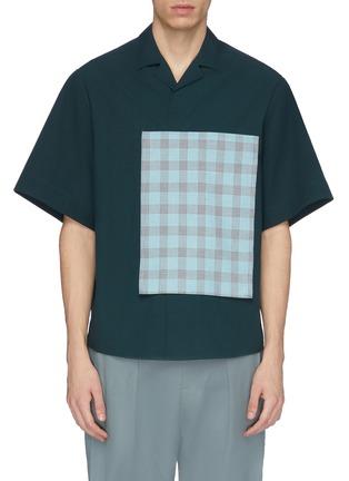 Main View - Click To Enlarge - FFIXXED STUDIOS - Tartan plaid pocket appliqué short sleeve shirt