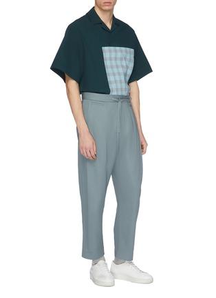 Figure View - Click To Enlarge - FFIXXED STUDIOS - Tartan plaid pocket appliqué short sleeve shirt