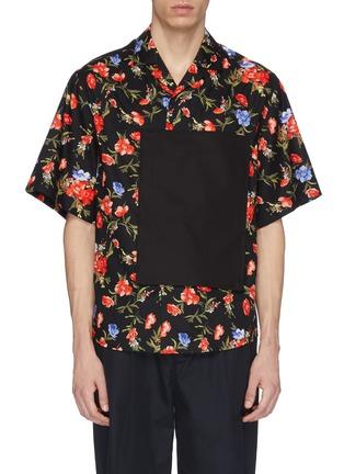 Main View - Click To Enlarge - FFIXXED STUDIOS - Contrast pocket appliqué floral print short sleeve shirt