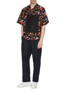FFIXXED STUDIOS Contrast pocket appliqué floral print short sleeve shirt