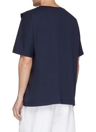 Back View - Click To Enlarge - FFIXXED STUDIOS - Sleeve panel mock wrap poplin T-shirt