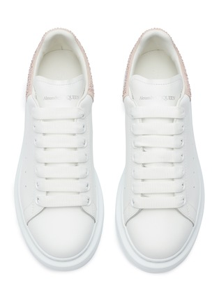 Detail View - Click To Enlarge - ALEXANDER MCQUEEN - 'Oversized Sneaker' in leather with strass collar
