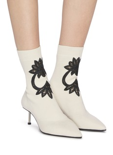 Alexander McQueen Pin heel lace insert knit ankle boots