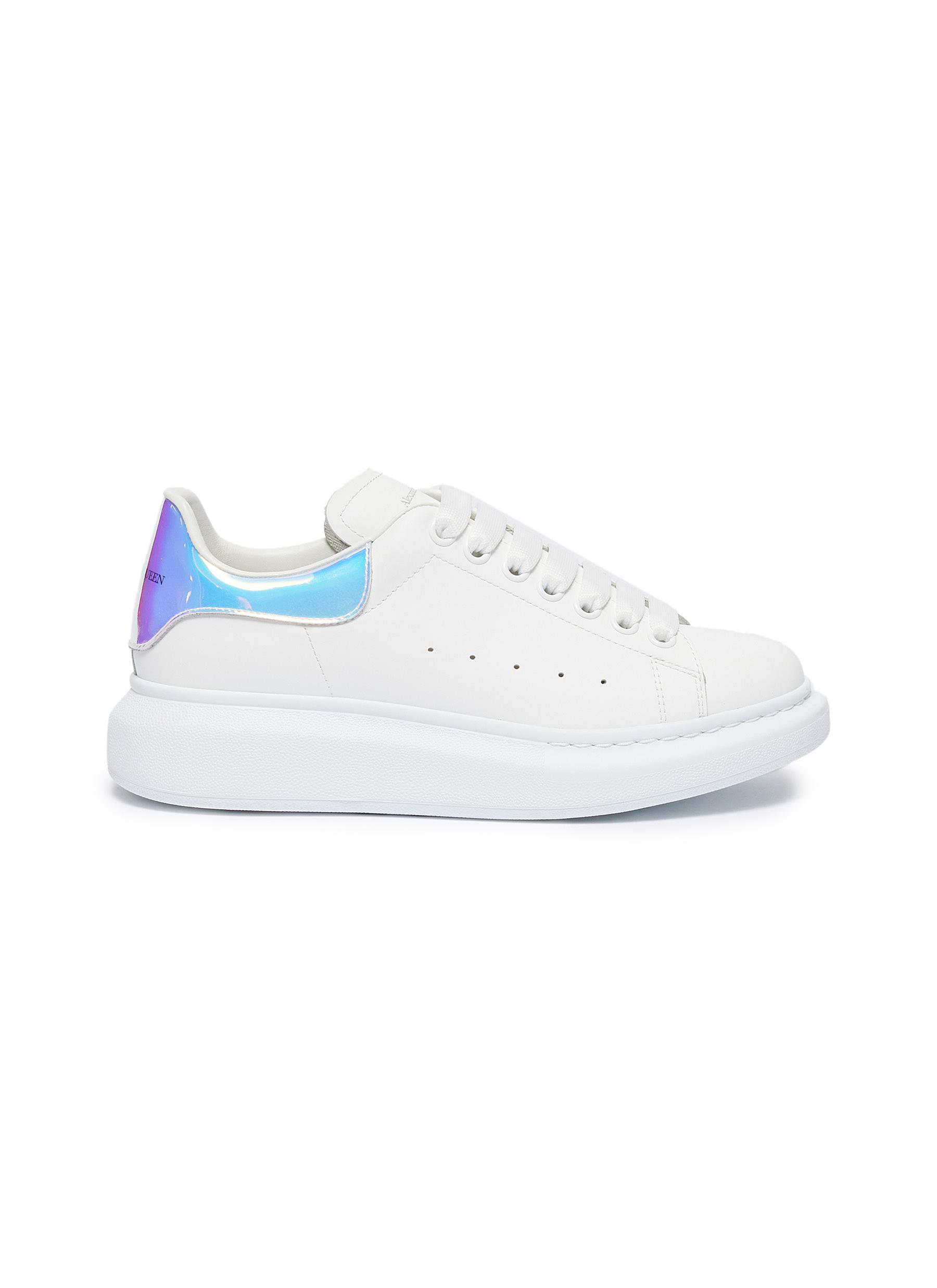 Oversized Sneaker in leather with holographic collar by Alexander Mcqueen
