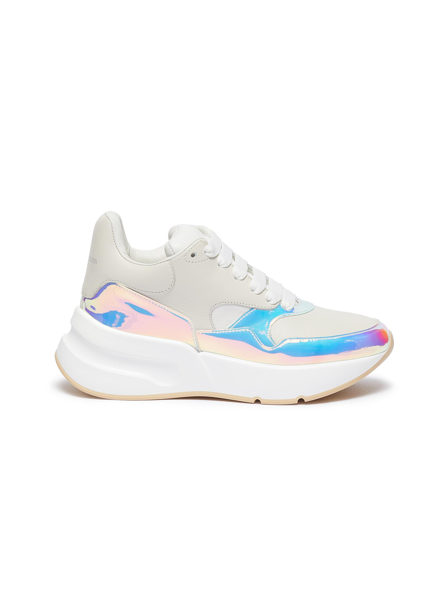 Oversized Runner in holographic panel leather by Alexander Mcqueen