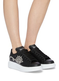 Alexander McQueen 'Larry' chunky outsole perforated floral leather sneakers