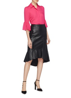 alice + olivia 'Monrow' bell sleeve silk chiffon shirt