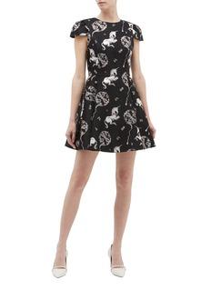 alice + olivia 'Stasia' graphic unicorn jacquard dress