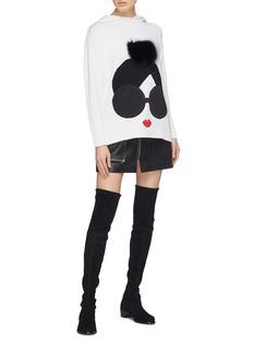 alice + olivia 'Vernie' fox pompom Stace Face appliqué knit hoodie