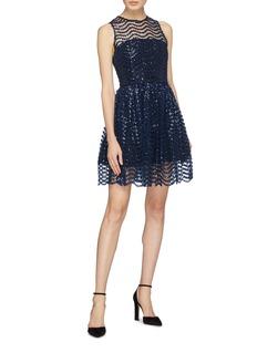 alice + olivia 'Daisy' wavy sequin stripe dress
