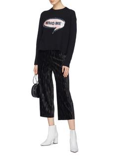 alice + olivia 'Gleeson' convertible sequin slogan graphic appliqué boxy sweater