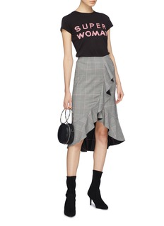 alice + olivia 'Shantell' ruffle drape houndstooth check plaid skirt