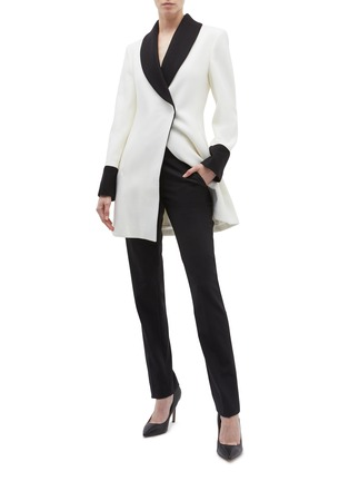 Figure View - Click To Enlarge - alice + olivia - 'Vance' colourblock shawl lapel wool blend coat