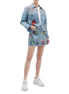 alice + olivia x Keith Haring Foundation 'Rumor' mix appliqué denim jacket