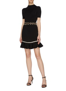 alice + olivia 'Evelyn' faux pearl piercing cutout dress