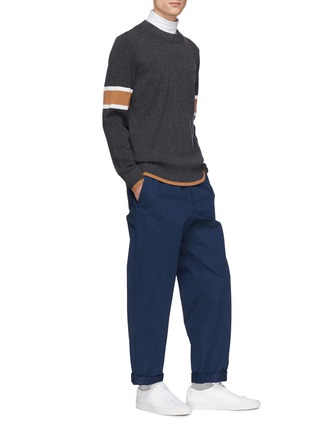 Figure View - Click To Enlarge - EQUIL - Stripe sleeve wool-cashmere sweater