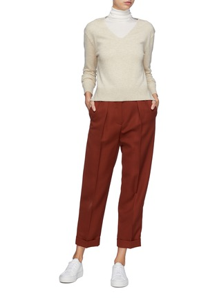 Figure View - Click To Enlarge - EQUIL - Contrast seam cashmere V-neck sweater