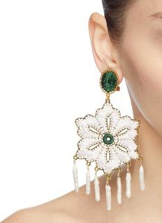 Mercedes Salazar 'Snowflake' faux pearl fringe threaded drop clip earrings