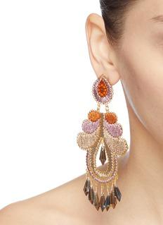 Mercedes Salazar 'Paisley' glass crystal fringe threaded drop clip earrings