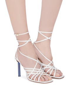 JACQUEMUS 'Pisa' sculptural heel strappy leather sandals