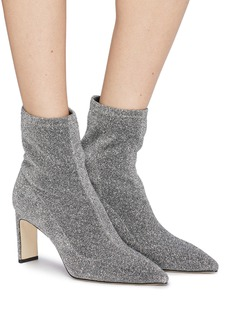 Pedder Red 'Hart' metallic sock knit ankle boots