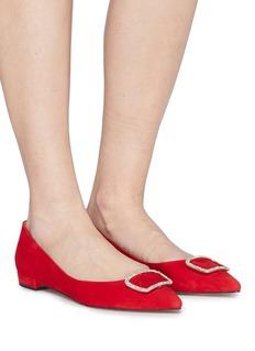 Pedder Red 'Janice' strass brooch suede skimmer flats