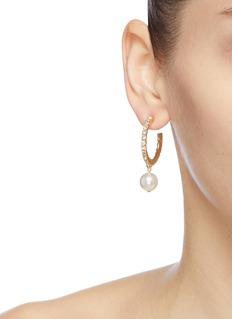 Joomi Lim Mismatched Swarovski crystal faux pearl drop hoop earrings