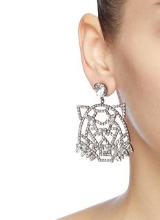 Joomi Lim 'Wild Tiger' mismatched Swarovski crystal slogan earrings