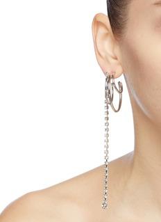 Joomi Lim Mismatched Swarovski crystal fringe hoop earrings