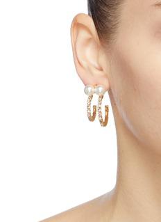 Joomi Lim Mismatched faux pearl Swarovski crystal hoop earrings