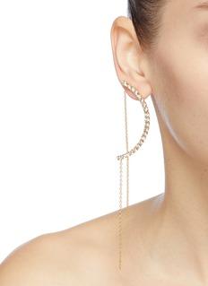 Joomi Lim Mismatched faux pearl Swarovski crystal arch earrings